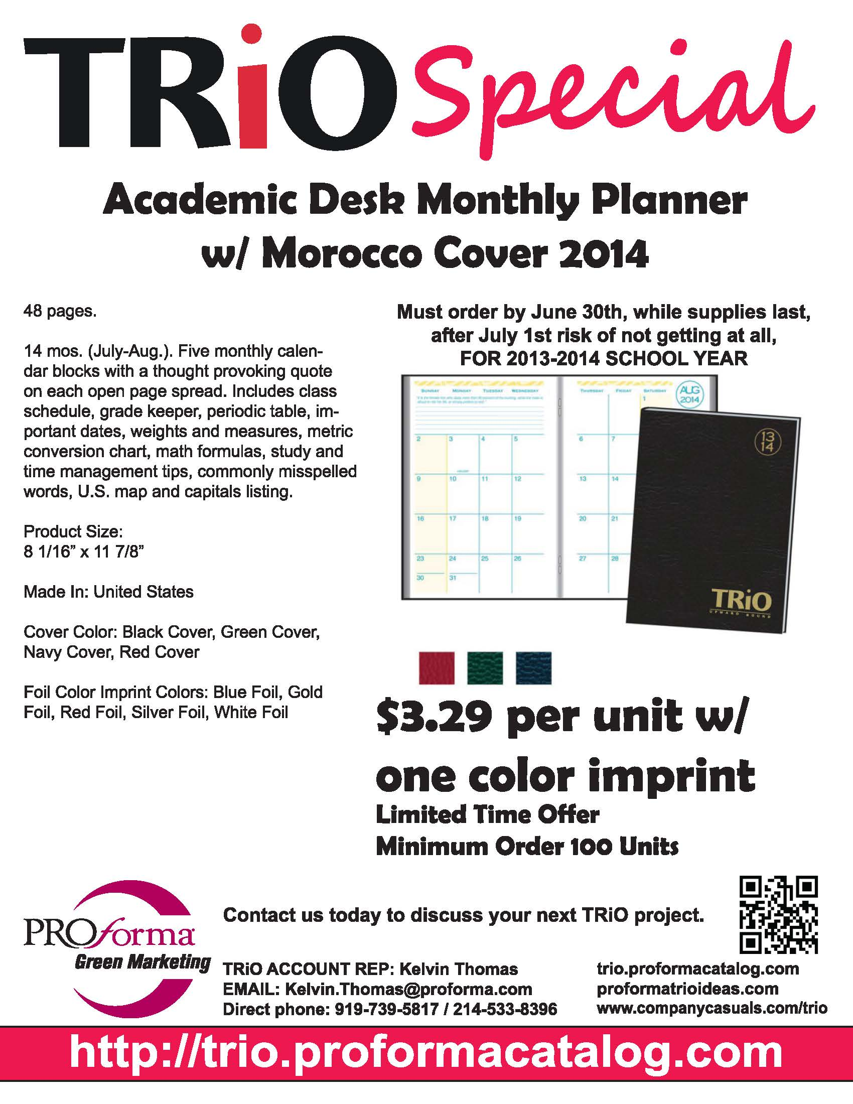 Trio Special Academic Desk Monthly Planner Proforma Trio Ideas