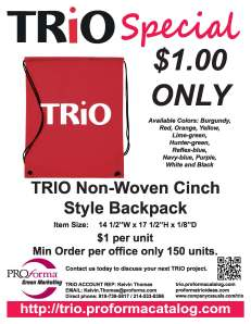 $1 TRiO Nonwoven Drawstring Cinch-Up Backpack flyer. Click to see.