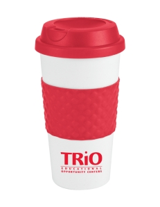 16oz Double wall insulation, Classic white plastic coffee cup, Contrasting bold color silicone texture grip center band, Matching color plastic twist-on lid, Not microwave or dishwasher safe.