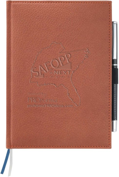 SAEOPP Conference Vicenza Bound JournalBook. Embossed logo. Leather finish. Elastic pen loop. Blue and silver ribbon page markers. Includes 96 sheets of lined paper Pebble Grain Italian UltraHyde.