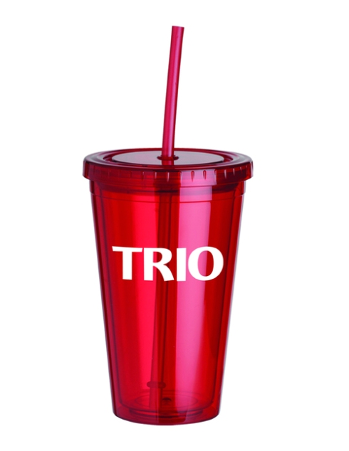 16 oz. Double wall acrylic cup with matching color screw-top lid and sip straw, BPA free, Not microwave or dishwasher safe.