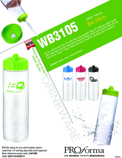 24 oz. control the flow! Crystal clear squeezable Tritan™ material water bottle with easy grip circular decorative textured body, Bold color plastic twist-off cap with Sure-Snap™ Sport Valve opening, Great for working out or anytime!