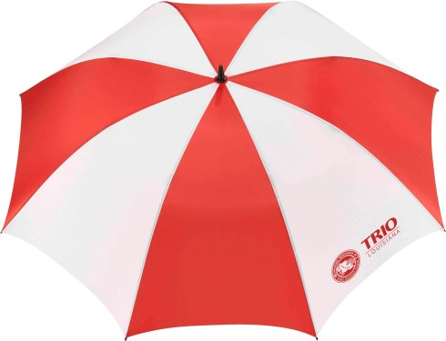 Full-size golf umbrella. Manual opening. Large canopy with matching color case. Umbrella case includes a shoulder strap. All fiberglass lightning resistant construction. Sporty ergonomic rubber handle.