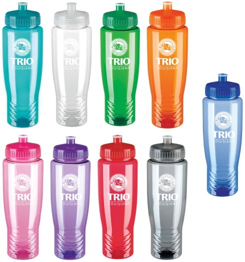This squeezable sport bottle is earth friendly and great for the gym.   Push-pull, easy drink-thru lid Easy-to-fill, wide mouth makes adding ice cubes or stirring simple. Shatterproof. 27 oz. capacity when filled to the rim.