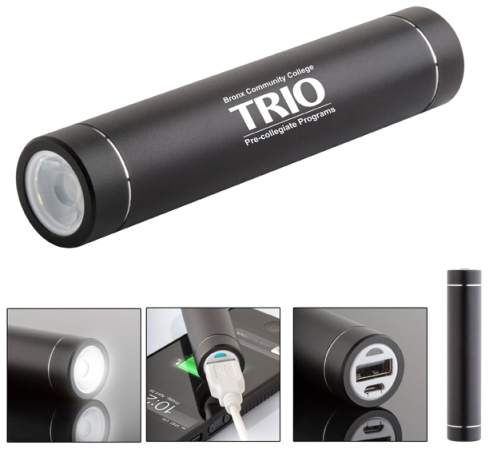 Portable cylindrical stick style powerbank with LED flashlight for smartphone, Attractive brushed satin black metallic aluminum case, 2000 mAh Li-ion battery, Adapters for Micro USB and USB, Slide button function choice, Compatible with Windows and Mac OS, Great for purse or pocket.