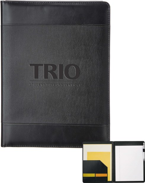 "Documents pocket. Business card pockets. Elastic pen loop. Includes 8.5"" x 11"" writing pad."