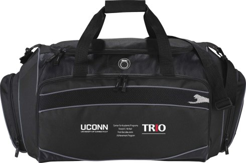 "Sporty 26"" duffel with large main compartment and U-Shaped opening. Large front zippered pocket with media pocket and earbud port. Shoe pocket and zippered end pocket. Removable shoulder strap."
