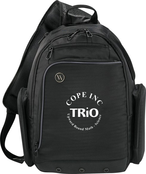 """This exclusive design has dual molded side pockets to protect all your expensive gadgets in addition to the quilted laptop compartment that can be accessed either through the main compartment or the dedicated side-entry. Fits up to 16"""" computers. Also features an extra wide ventilated sling strap that can be changed to wear on either side. Spacious main zippered compartment includes zippered mesh pocket that is perfect for your cords and other accessories. Front organizer pocket includes a lined pocket for your iPad or other tablet device. Padded back and strap for extra comfort. Back panel designed to slip over trolley handles. Signature elleven™ lining and hardware."""