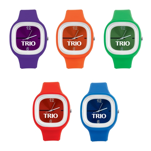 Large faced, bold watch with flexible band Faces can be removed and are interchangable, great for assorted color orders Great for sporting events or to promote awareness