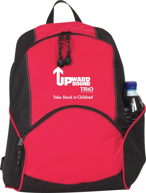 This backpack is just the right size for a day trip. Zippered main compartment. Front zippered pocket. Water bottle pocket. Padded adjustable shoulder straps.