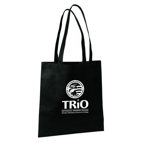 Made of durable and eco friendly 80 GSM Polypropylene material.  Sleek open tote with interior seams. Reinforced handles, 22'' in length.