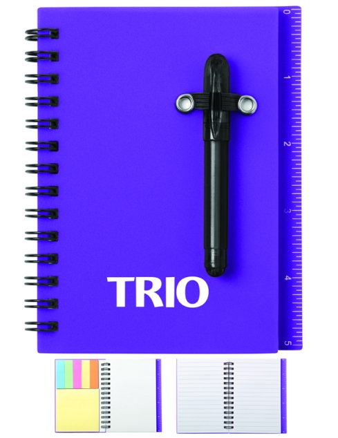 Bright translucent color cover, Matching color sporty shorty pen, except for White, Spiral bound with 50 lined sheets, Color-coded self-stick tabs and memo pad included, Built-in ruler on cover.