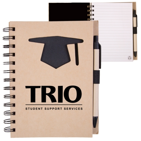 Cover is made of 80% post-consumer recycled materials, metal spiral binding is made of 90% post-consumer recycled materials, and pen barrel is made of 100% post-consumer recycled paper.
