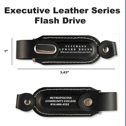 Black Leather casing. Imprint both sides.