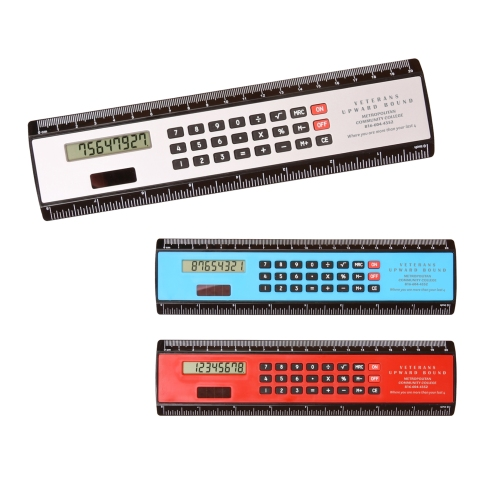 2-in-1 plastic ruler and calculator for home, school or office.  Includes dual scales measurement in up to 8 inches below display and up to 20 centimeters above display, both in old of black plastic panels.  Includes solar powered 8 digit display calculator with soft raised rubber keys. - See more at: http://jetlinepromo.com/black-edge-ruler-calculator.html#sthash.Q6blc6L1.dpuf