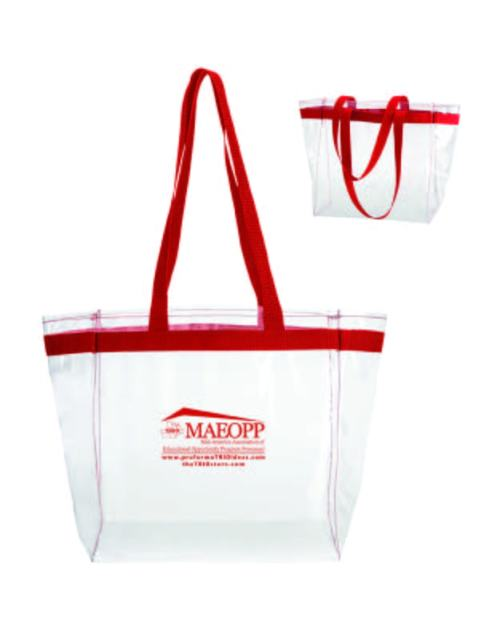 "Ready for game day or everyday! Lightweight, Crystal clear 0.2mm PVC tote with bold color web band accent, Matching double shoulder handles, 5-3/4"" Gusset, Folds flat."
