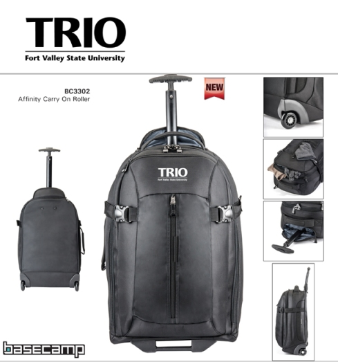 Built to travel - it is the perfect carry-on size rolling bag! Handsome black 1680D Cross Weave construction, Large main compartment with heavy lockable dual-zipper, Front flap small top accessory pocket with zipper, Large front vertical zipper pocket with interior protective mesh flap - to alleviate content spillage, Sturdy wheels with smooth ball bearing operation, Front plastic stability bar, Padded top handle, 2 side web straps to secure closure, Retractable telescoping handle– packs away in zippered compartment for easy storage.