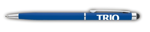 Slim profile multi-function pen featuring a ballpoint and I-PAD/ I-Phone touch stylus. Glossy colored barrel featuring shiny metal trim.   Mechanism: Twist-Action, Stylus Ink Color/Point Style: Black or Blue ink with medium point Black ink will be provided unless otherwise specified.