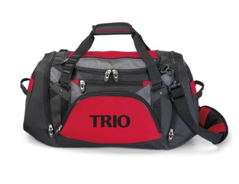 This sporty tech duffel is perfect for the gym or travel Main compartment with removable floor board for extra support Front features multiple zippered pockets for additional storage Dual zippered, gusseted side pockets with breathable mesh accents and grab handles Adjustable, removable shoulder strap with non-slip pad Top grab handles with comfort grip