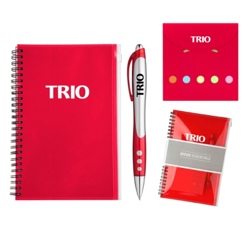 Keep it all together with the Office Essentials Gift Set, Includes blue ink Illusion Ballpoint pen (PB3788), and the Pocket Flag Buddy (MP024) all packaged neatly in the pouch of the vibrant Toucan Journal Book (MP3555)