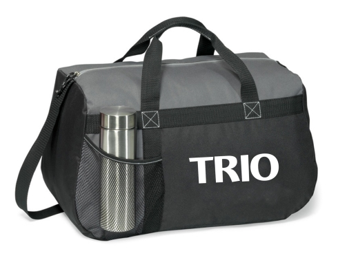 Travel in style with this all-purpose duffel Front mesh water bottle pocket (water bottle not included) Large zippered main compartment with cord pull Shoulder strap and top grab handles Back panel of each bag matches primary bag colo
