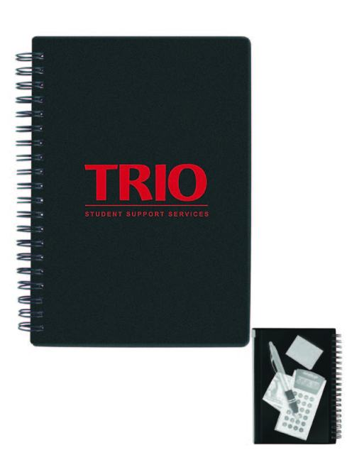 Bright translucent color cover Spiral bound with 80 lined sheets Separated zip-lock plastic envelope attached to spiral.