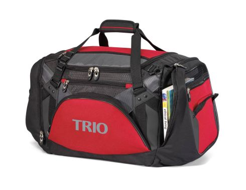 Work hard, play hard with this robust sport duffel Large main compartment for ample storage and removable floor board for extra durability Front features multiple zippered pockets for additional storage options Dual zippered side pockets featuring gussets to maximize storage, breathable mesh and grab handles Adjustable, removable shoulder strap with non-slip pad Top grab handles with comfort grip