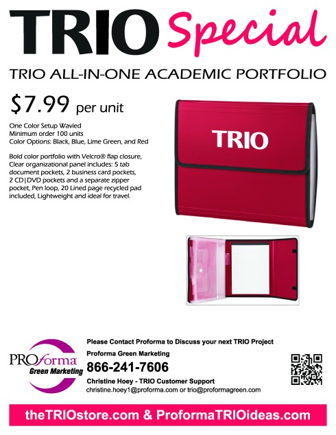 Bold color portfolio with Velcro® flap closure, Clear organizational panel includes: 5 tab document pockets, 2 business card pockets, 2 CD|DVD pockets and a separate zipper pocket, Pen loop, 20 Lined page recycled pad included, Lightweight and ideal for travel.