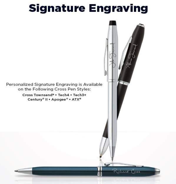 Signature Engraving allows you to duplicate an individual's actual  signature onto a quality CROSS writing instrument. Now you can recognize  individual staff ...