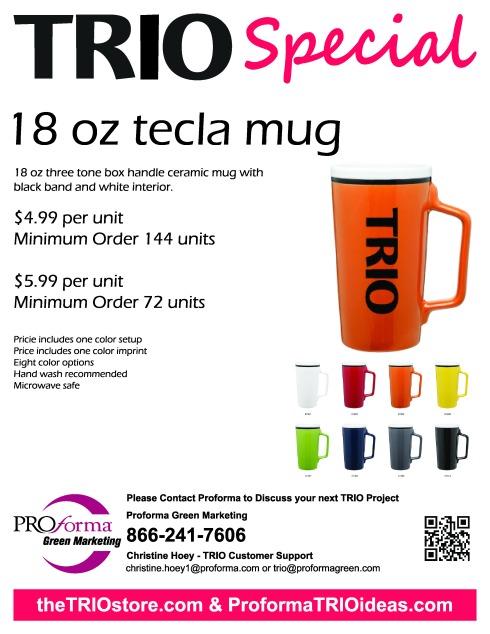 18 oz three tone box handle ceramic mug with black band and white interior.