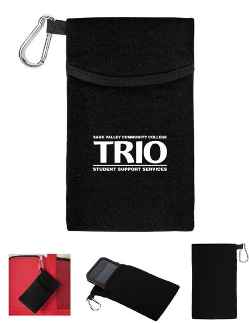 Cushy bold color polyester and foam blend material case with black piping accent and attached shiny and silver carabiner. Universal size to accommodate all phones, Fits compactly in all bags, purses, and pockets.