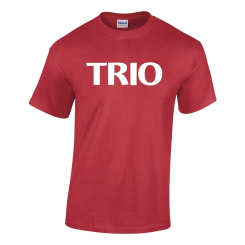 red tee shirt with white stock TRIO imprint