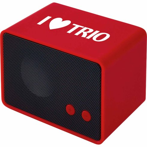 Portable Bluetooth speaker with internal rechargeable battery which provides playback time up to 4 hours. Red light displays when the speaker is being charged and will turn off when the charging is complete. Speaker can be synced by Bluetooth and Micro-USB to 3.5 mm audio cable. Audio and charging cable included.