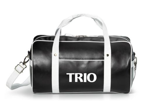 Retro styling with modern appeal. Duffel sport bag tote. Fully-lined, generously sized duffel Front and side slash pockets Top grab handles with metal rivets Adjustable, removable shoulder strap / Durable, metal hardware PVC free