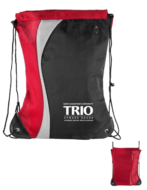 2-Tone contour shaped microfiber and mesh day pack with Silver accent, Open air mesh fabric back, Sturdy reinforced bottom corners with strong grommet and cord drawstring construction, Rubber ear bud port, Velcro inside pocket, Packs FLAT!