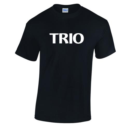 Stock TRIO tee. White Imprint on Black Tee.