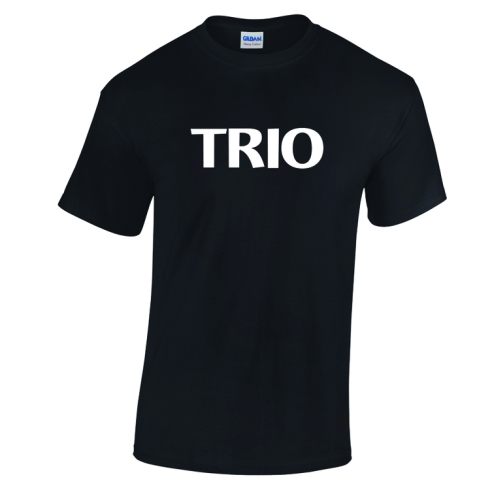 Stock TRIO tee. White Imprint on Black Tee.