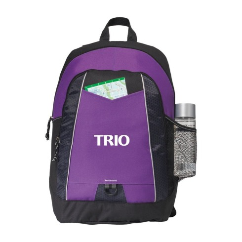 Sporty design and bold colors make this an eye-catching pack Large main compartment Front zippered pocket with organizer Side mesh pocket for water bottle (water bottle not included) Front D ring for keys or carabineer Adjustable, padded shoulder straps and top grab handle Front pocket