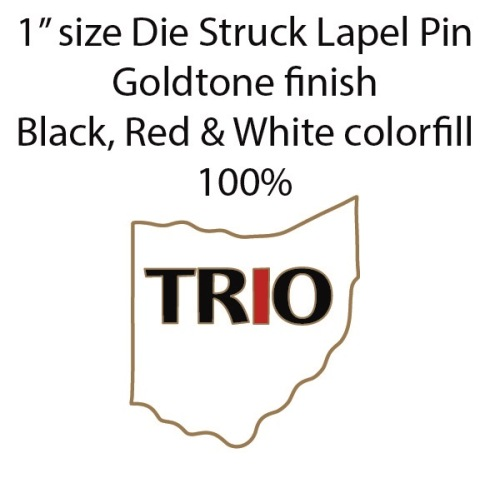 """Sold as Shown, bag of 500 lapel pins  (6 weeks need for production) """"TRO"""" capital letters in black, with """"I"""" in red. 1"""" x ~ 5/8"""" Die Struck Lapel Pin Bright Goldtone Finish Black, White, Red (PMS 186c) Soft Enamel Colorfill."""