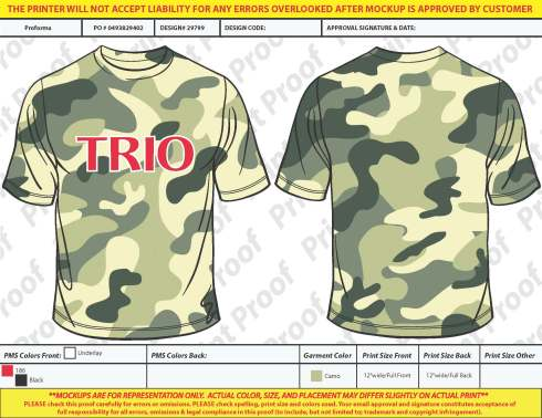 One color imprint on camo tee shirt