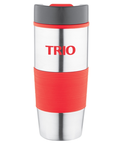 14oz. Double wall insulation, Stainless outer with color plastic liner, matching color textured silicone grip,Twist closure lid with color slide button drinking spout, Non-slip bottom.
