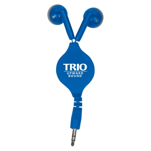"Retractable ear buds with center imprint panel. In-ear headphones with PU plastic cord and ABS plastic center panel. Headphones extend up to 34"" in length."
