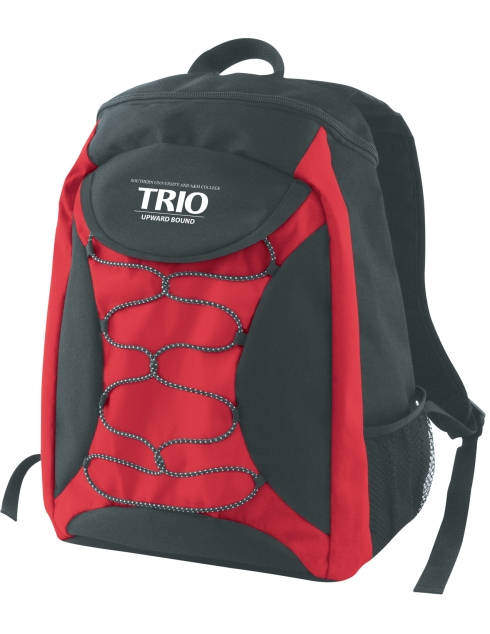 600D Polyester, Zippered main compartment, Mesh pocket on the side, Elastic rope, Padded adjustable straps.
