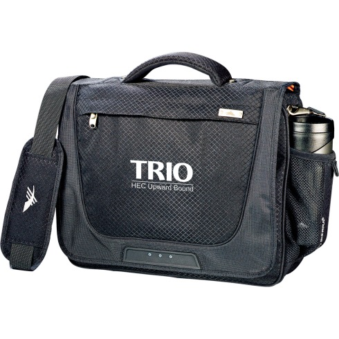 """Padded computer compartment holds up to 15"""" laptop. Large main compartment has protective flap with Velcro closure. Zippered accessory pocket on flap for quick-access items. Water bottle pocket. Front panel organizer with media pocket and key fob. Cell phone pocket with Velcro closure. Detachable, adjustable shoulder strap with Vapel™ mesh Airflow™ shoulder pad. Comfortable padded grab handle. Trolley handled pocket on back to slip over the handle of an upright."""