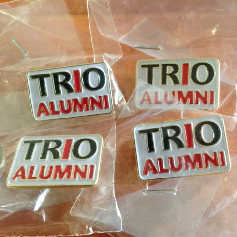 """TRO"" capital letters in black, with ""I"" in red. Bag of 50 lapel pins. 1"" x ~ 5/8"" Die Struck Lapel Pin Bright Goldtone Finish Black, White, Red (PMS 186c) Soft Enamel Colorfill. Individually polybagged"