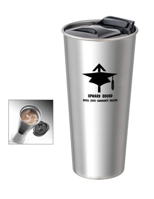 16 oz. insulated double wall tumbler. 18/8 Stainless steel outer and inner. Coordinating accent pop-in lid with slide lock. BPA free.