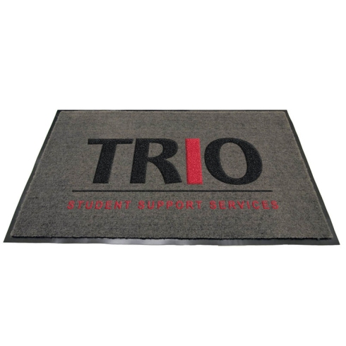 "Charcoal Olefin Carpet Imprint Colors: Black/Red PMS 185 3' x 4' With ""TRIO STUDENT SUPPORT SERVICES"" Logo"