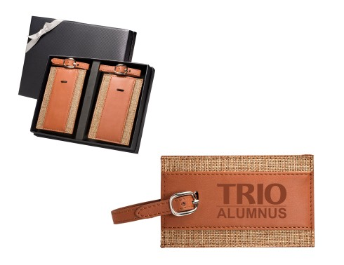 "Gift set includes two LG-9343 Sierra™ Luggage Tags   Luggage tag features linen body with PU leather accents and metal buckle strap   Insert ID or business card behind PVC viewing window. Display window is approx. 3 1/4""w x 1 3/4""h   Buckle strap secures back panel to conceal your personal information"