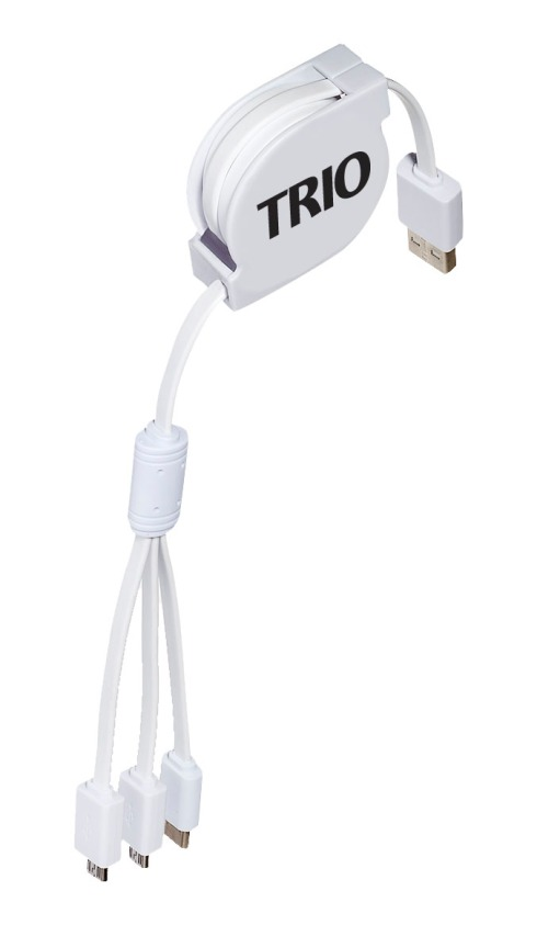 "Multi-function cable of ABS plastic case with TPE cables Includes 1 USB cable, 1 Micro USB cable, and 1 USB Type-C Extends up to 43"" (and retracts down to approx. 7.5"")"