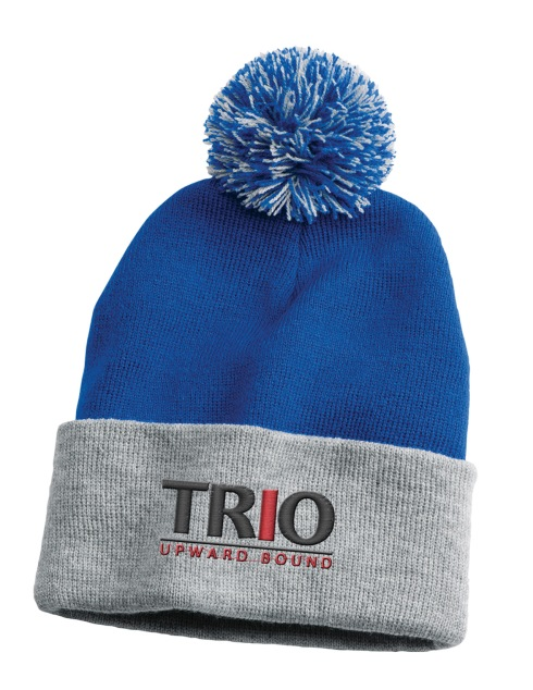 "100% acrylic knit beanie. Topped with pom-pom. 12"" deep."